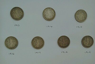 George V Half Crowns set from 1913 to 1919 inclusive