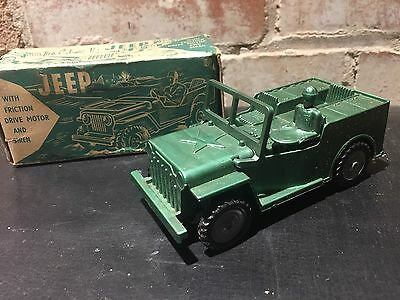 Vintage 60's Boxed Wooleys Jeep With Friction Drive Motor & Siren Tinplate Toy