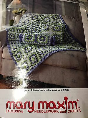 "Mary Maxim Crochet Kit # 99968N - SEASIDE THROW Afghan 39"" x51""  # 11B2"