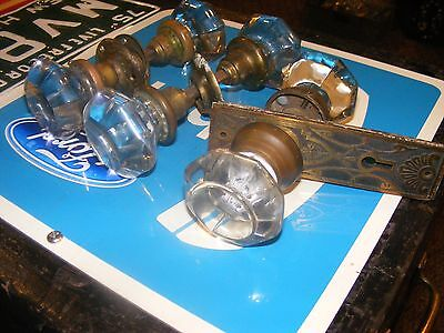 3 antique glass doorknobs