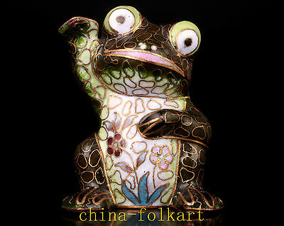 Lovely Lucky Cloisonne Frog Statue Figurine Lucky Luck Gifts Vintage Collectable