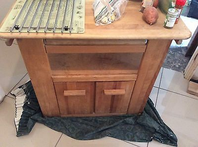 Solid Wood Butchers Block With Cupboard And Small Drawer