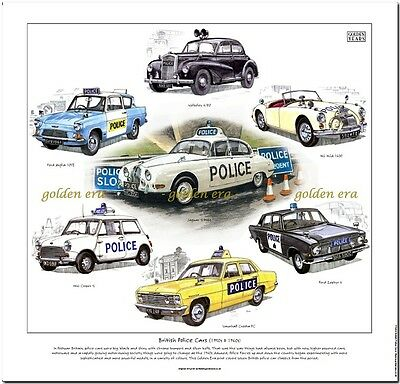 POLICE CARS OF THE 1950's & 1960's---CAR ART PRINT