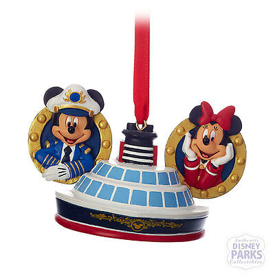 Disney Parks Captain Mickey and Minnie Mouse Ear Hat Ornament Disney Cruise Line