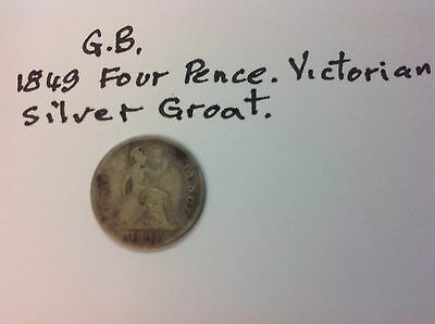 """Coins """"l7"""",.g.b..english 1Coin  G.b. Silver Groat, Four Pence. 1849."""