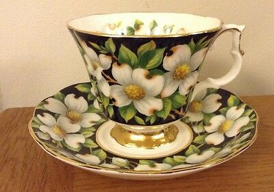 "Beautiful Royal Albert Provincial Flowers ""Dogwood"" Cup And Saucer - 1st Quality"