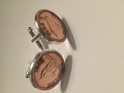 George 6th Farthing Cufflinks - Free Giftbox & UK Postage - SELECT YOUR YEAR