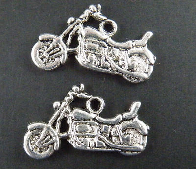 15pcs Silver Tone Motorcycle Charms 24.5x15x2mm 9046-1