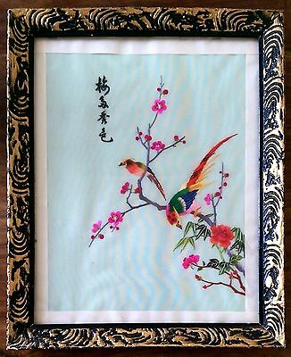 Vintage framed and glazed Chinese embroidered silk bird picture