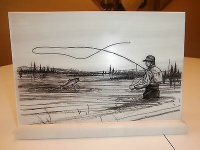 Montana Marble Inc Fly Fishing On Cultured Marble Unsigned With Display Base