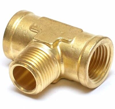 "1/2"" NPT Branch Female Male Tee Brass Fitting , Fuel, Air, Water, Oil, Gas"