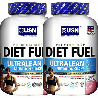 2  X USN Diet Fuel Ultralean Protein 2Kg Meal Replacement For Diet & Weight Loss
