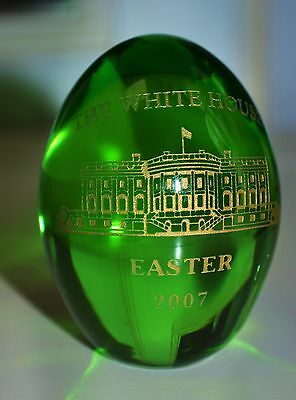 """Presidential White House Easter Egg 2007~""""solid Hand-Blown Glass"""" George W. Bush"""
