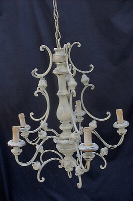 Vtg Italian Wood Chandelier, 5 Bulbs, Perfect to Add Crystals, Shabby Chic,1930s