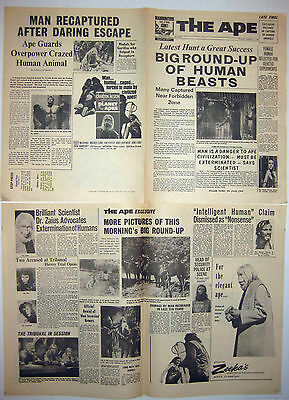 4 Page 1968 Planet Of The Apes Promtional Newspaper