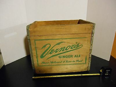 Vintage Vernors Ginger Ale Wood Soda Bottle Large Box Crate Storage Metal Edged