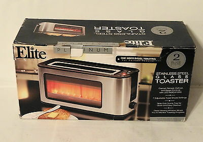 Elite Platinum ECT-153 Maxi-Matic 2-Slice Glass Sided Toaster Silver New
