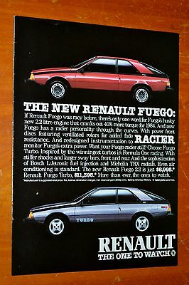 1984 Renault Fuego 2.2 American Motors Ad - Retro 80S French Car Auto