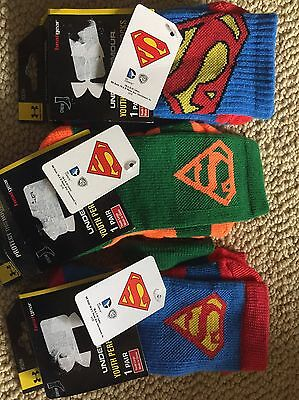 Boys Under Armour Superman Socks 3 Pair Lot Youth Size Large NEW