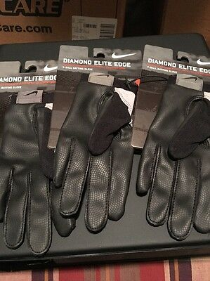 Nike Diamond Elite Edge Batting Gloves Youth M/L T-Ball NEW! Lot Of 3 LH Only