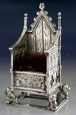 Rare Sterling Silver Pin Cushion Edward Vii Coronation Chair 1910 Antique Sewing