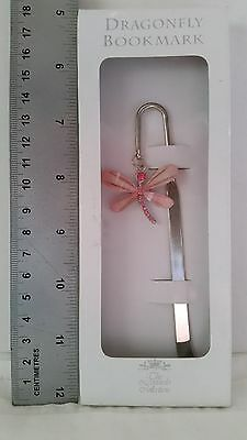 Metal bookmark with hanging pink sparkly butterfly New boxed