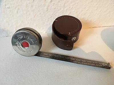 Vintage Tape Measure With Brown Leather Case Made In Japan