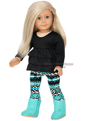 """RUFFLED TOP + PRINT LEGGINGS + A BOOTS clothes fits 18"""" American Girl Doll Only"""
