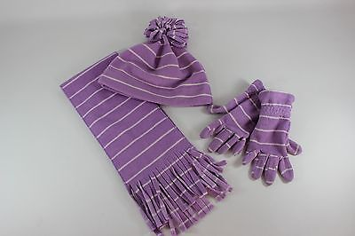 Old Navy Girls Purple and White Striped Hat, Scarf and Glove Set...size S  GUC