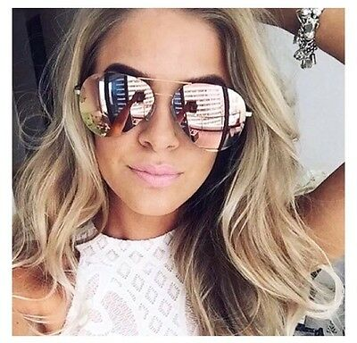 NEW ROSE GOLD MIRRORED Pink Reflective AVIATOR SUNGLASSES Celeb KYLIE Ski NEW