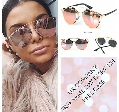 ROSE Gold PINK Reflective MIRRORED AVIATOR SUNGLASSES Celeb NEW TOWIE