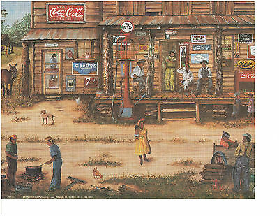 COUNTRY STORE art reproduction 16X20 black men boiling peanuts, gypsy pot, 16x20