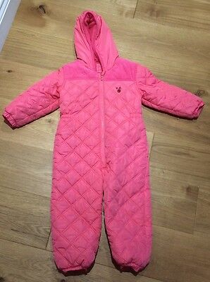 Next Girls Pink Snow Suit Size 3-4 All In One Coat Jacket Winter