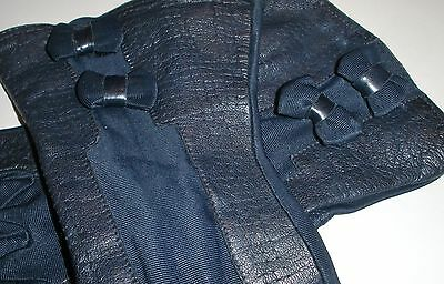 Vintage LADY GAY NAVY BLUE Leather & Rayon FASHION Gloves Size 7