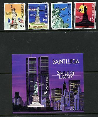St Lucia #880-883 & #884 S/S (ST298) Comp 1987 Statue of Liberty issue, MNH, FVF