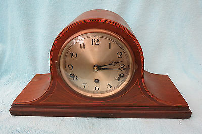 Large Vintage Inlaid Mahogany Westminster  Nap Hat Clock For Restoration