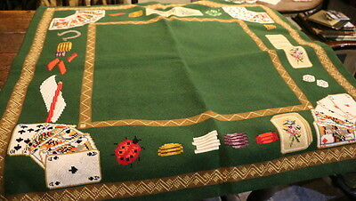 A New Vintage Needlepoint (Tapestry) Table Cloth For Bridge & Poker & Card Games