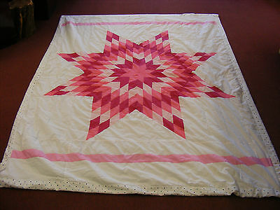 Authentic Native American Star Quilt Baby Pink Pine Ridge South Dakota Sioux