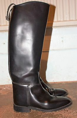 Long Black Leather Riding Boots Size 40/6.5  VGC