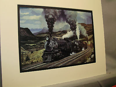 Santa Fe Steam Power on Raton Pass By artist Railroad Archives Museum
