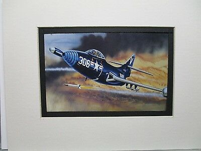 Grumman F9F Panther Monogram   Model Airplane Box Top Art Color  artist G2
