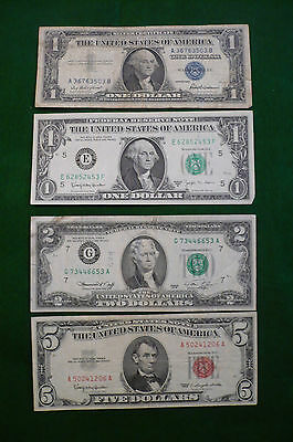 US $1 BLUE SEAL $1 BARR $2 GREEN SEAL $5 RED SEAL NOTES (lot #MK-0027)