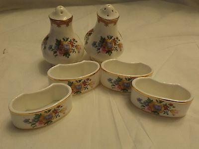 Royal Albert Lady Carlyle Salt And Pepper  And 4 Napkin Holders Perfect  .