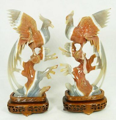 Exquisite Pair of Chinese Hand Carved Agate & Sardonyx Phoenix Sculptures !