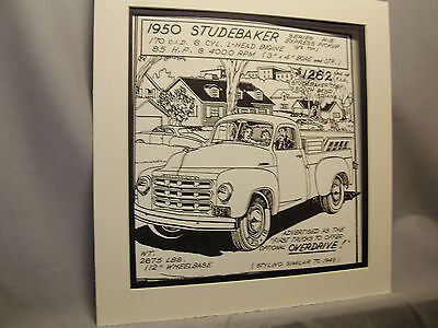 1950 Studebaker Pickup Truck Auto Pen Ink Hand Drawn  Poster Automotive Museum