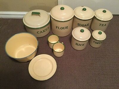 Green and Cream retro canisters