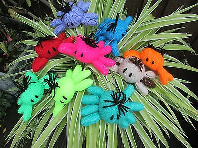 Handmade Knitted Cat Toy Spiders on Elastic various co;lours