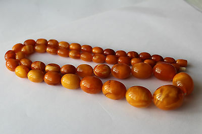 ANTIQUE AMBER NECKLACE, BUTTERSCOTCH EGG YOLK, RARE NATURAL BALTIC AMBER 老琥珀 61g