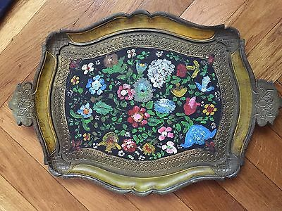 Italian Faux Wood Yellow and Golden Gilt Light Tray with painted carved flowers