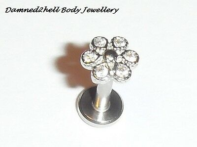 INTERNALLY THREADED LABRET TRAGUS STUD WITH PAVE CRYSTAL DAISY TOP ~ 1.2mm